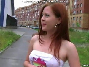 18 Teen Redhead Anal Fucked Outside In Car By 2 Dudes