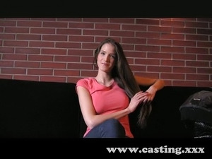 Beautiful brunette on the casting couch