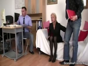 Two co-owners bang hot mature lady free