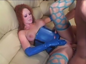 Nasty redhead with curly hair seduces guy with her light blue latex uniform