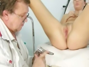 Blonde girl Misa gyno vagina speculum examination by kinky and old doctor