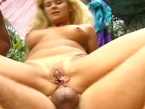 This is the best day for this horny blond as she gets double penetrated by...