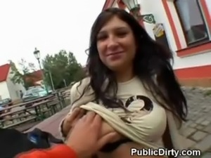 Brunette Public Flashing free