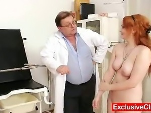 Redhead Samantha checked by kinky gyno doctor