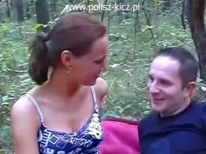 Polish Amateur Brunette Anal in the forest