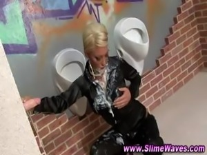 Gloryhole wet and messy sluts get it good from fake dick