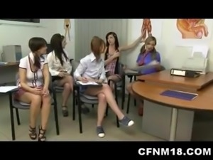 Unforgettable CFNM anatomy class with five cock-starved schoolgir