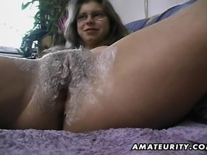 A very hairy amateur housewife homemade hardcore action with bush toying,...