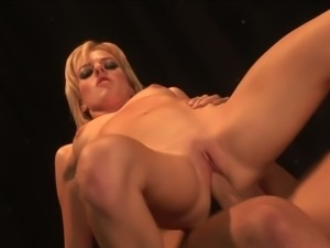 Gorgeous young blonde in leather rides hard cock meat