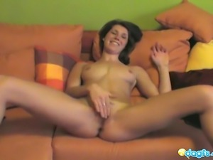 Sexy exgirlfriend Fran hot couch masturbation