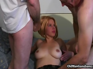 This escort gal in sexy black stockings was waiting for Papy alone, but when...