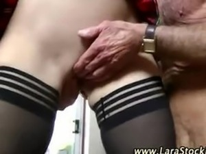 Mature euro babe in stockings sucks and fucks two cocks