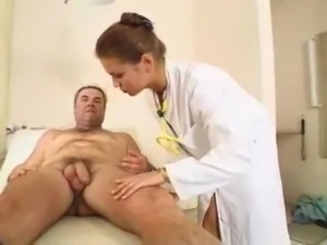 Elena checks how hard her patient is free