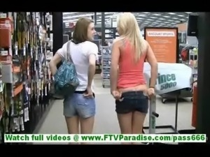 Nikkie and Aubrey lovely amateur lesbian couple in skirts kissing and...