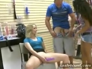 Cash buys pussy and mouth in an adult toy store