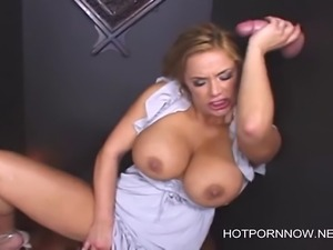 Busty Shyla blowjob in glory hole