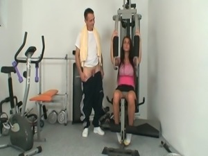 Sweet brunette bitch gets horny and fucked hard in the gym