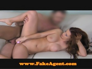 FakeAgent Auburn beauty does anal