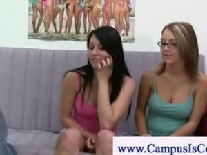 College cuties look for cock at their dorm