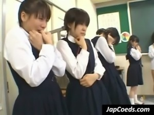 Asian coed gets slit rubbed in class free