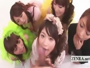 Subtitled group CFNM POV blowjob at Japanese TV studio
