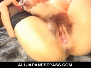 Teen cutie Haruka Aoi in a costume finds her pussy licked and ridden hard