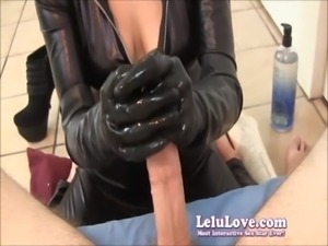 Lelu Love In A Sexy Catsuit Giving A Handjob free