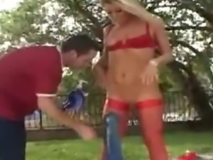 Worlds biggest dildo fuck and fisted blond whore in a park