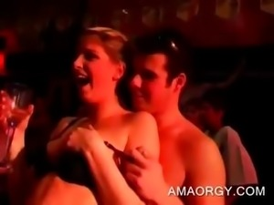 Amateur blonde hoe gives BJ to stripper at orgy