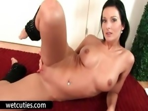 Naughty cutie oils tits and pussy