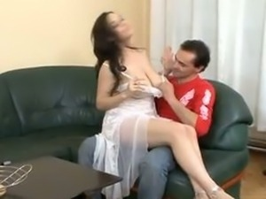 Big Natural Tit Brunette Fucked On Couch