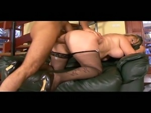Horny fat granny fucks her handsome big dick young hunk lover