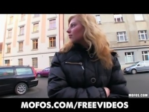Shy blonde Czech girl agrees to take cash for a public suck & fuck free