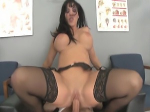 33 year old MILF with big fake 34DD tits does anal and DP with 2 male test...