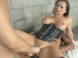Redhead prison guard with phat 36 inch ass does anal and DP with 2 hung...
