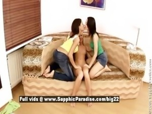 Audrey and Yvonne and Irie from sapphic erotica lesbo girls undressing