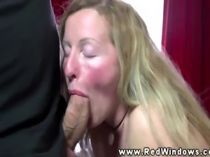 Real blonde euro hooker rides dick after sucking on cock
