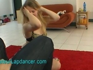 Crazy blonde doing wild lapdance show