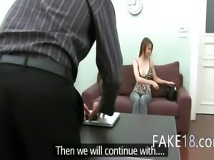Young girl sexing first time on camera