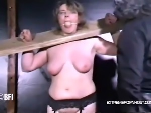 Poor chunky girl almost starts to scream during her weekly punishments. Her...