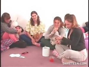 College horny girls play truth or dare for sex