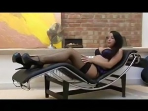 Banging Lezley Zen on a sofa