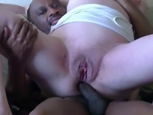 Impressive white mature ass fucked by black cock