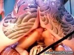 Amazing cute asian bitch getting ass