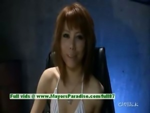 Rui Shiina innocent lovely asian girl fondles her pussy