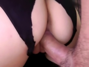 A sexy young glamorous British babe rides an old sirs dick