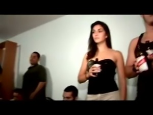 Bitch fucked at college party in front of everyone free