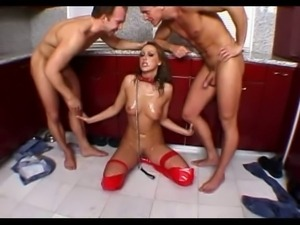 pet slut gets rough training from 2 guys