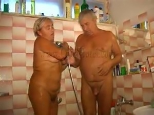 old couple in the shower