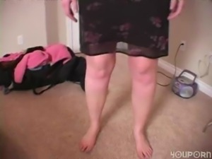 Kissy - A smiling Kissy strips for Mr Penis free